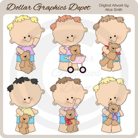 Toddler Girls and Teddy Bears - Clip Art