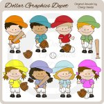 Baseball Kids - Clip Art
