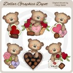 Button Bears - Valentine's Day - Clip Art