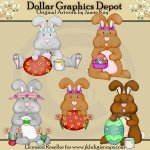 Easter Bunnies 1 - Clip Art