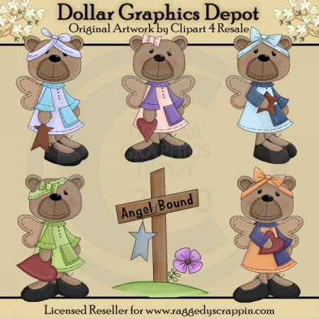 Angel Bound Bears - Clip Art - *DGD Exclusive*