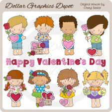 Little Valentine Kids - Clip Art