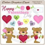 Sweet Valentine Bears 1 - Clip Art