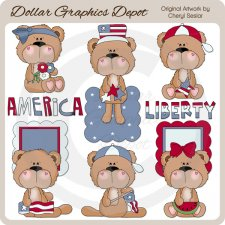 BoBo and Babs Bears Love America - Clip Art