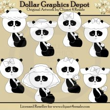Panda Bears - Digital Stamps