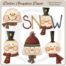 Prim Snow Faces - Clip Art