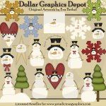 Snowmen and Snowflakes - Clip Art