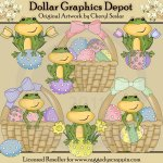 Easter Frogs - Clip Art