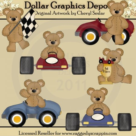 Stuffed Bears - Race Cars