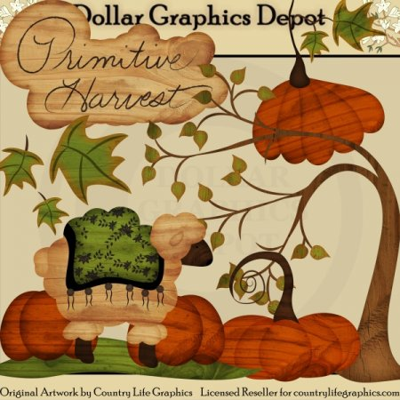 Primitive Harvest - Clip Art - $1.00 : Dollar Graphics ...