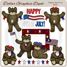 4th of July Bears - Clip Art