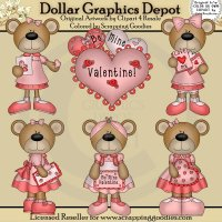 Pretty Valentine Bears - Clip Art