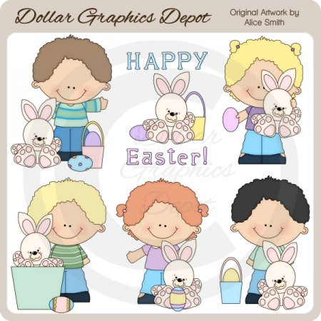 Easter Kids - Clip Art - *DGD Exclusive*
