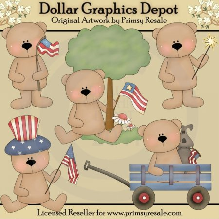 Patriotic Bears - Clip Art