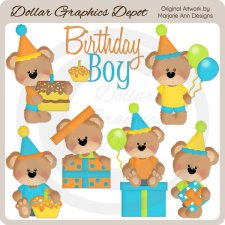 Birthday Bears - Boys - Clip Art