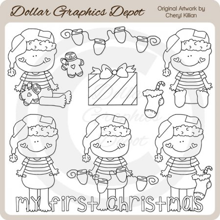 Baby Loves Christmas - Digital Stamps