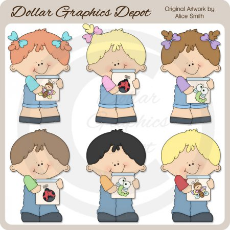 Kids 'n' Bug Jars - Clip Art - *DGD Exclusive*