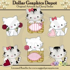 Pretty Kitty - Valentines - Clip Art