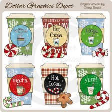 Christmas Coffee and Cocoa - Clip Art