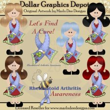 Rheumatoid Arthritis Awareness Girls - Clip Art