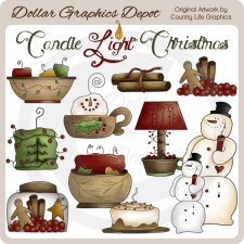 Candle Light Christmas - Clip Art