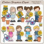 Big Kids - Sunflowers - Clip Art