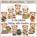 Pudgy Bear In the Kitchen - Clip Art - *DGD Exclusive*