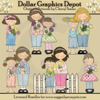 Pretty Mother's Day Girls - Clip Art - *DCS Exclusive*