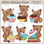 Wimbly The Bear Bakes Cupcakes - Clip Art