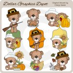 Attic Teddies - Thanksgiving - Clip Art