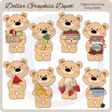 Bernard Bear - Summer Fruit - Clip Art
