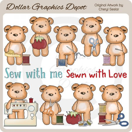 Pudgy Bear Loves to Sew - Clip Art - *DGD Exclusive*