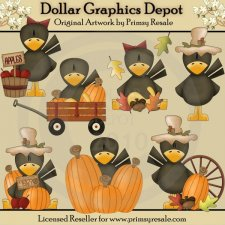 Autumn Crows - Clip Art