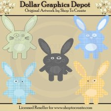 Plaid Bunnies - Clip Art