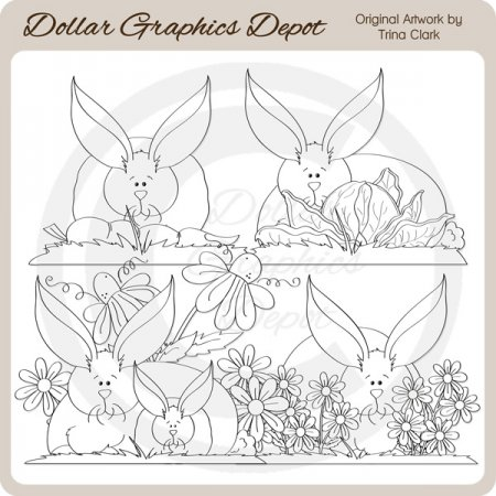 Summer Bunnies - Digital Stamps