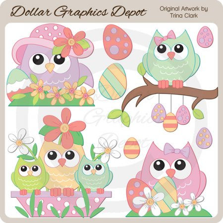 Pretty Easter Owls - Clip Art