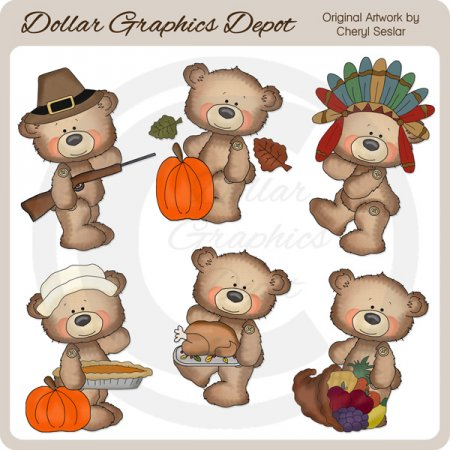 Button Bears - Thanksgiving - Clip Art