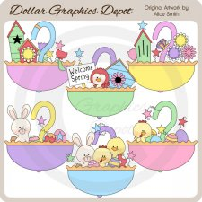 Spring & Easter Umbrellas - Clip Art - *DGD Exclusive*