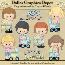 Big Sister - Little Brother - Clip Art - *DGD Exclusive*