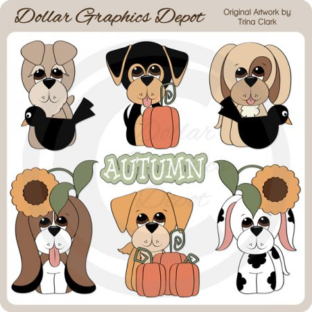 Autumn Dogs - Clip Art