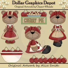 Cherry Harvest Bears - Clip Art - *DGD Exclusive*