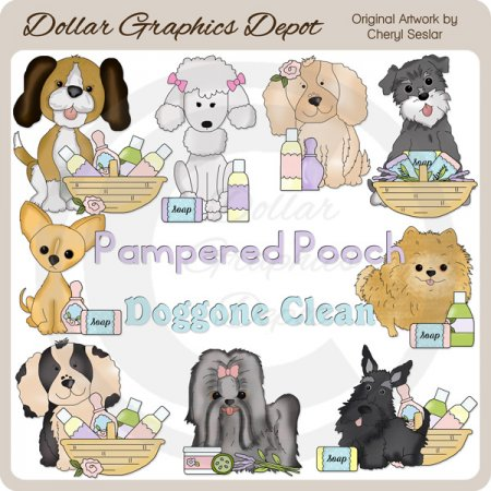 Pampered Puppies - Clip Art - *DGD Exclusive*