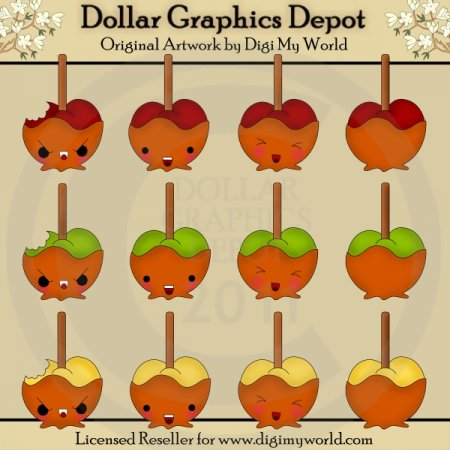Kawaii Caramel Apples - Clip Art