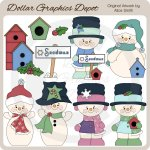 Winter Snowmen 1 - Clip Art - *DGD Exclusive*