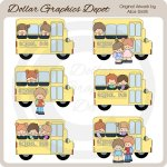 School Bus Friends - Clip Art - *DGD Exclusive*