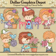 Little Munchkins - Flowers For Mommy - Clip Art