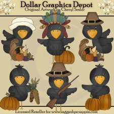 Thanksgiving Crows - Clip Art
