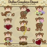 Little Valentine Bears - Clip Art - *DGD Exclusive*