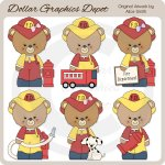 Occupation Bears - Firefighters - Clip Art - *DGD Exclusive*