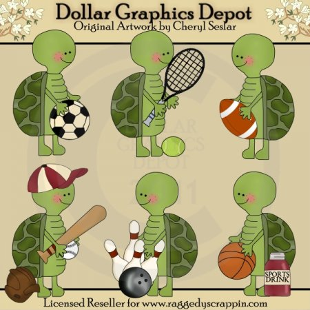 Silly Turtles - Sports - Clip Art